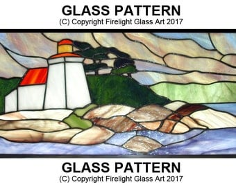 Brebeuf Lighthouse.Stained Glass Pattern.Lighthouse download.Digital stained glass.Downloadable file.