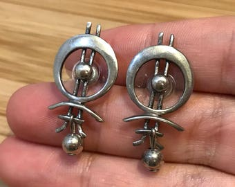 Vintage Sterling silver handmade earrings, solid 925 silver studs with beads drops, stamped 925, signed