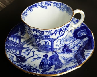 """Royal Crown Derby, """"Blue Mikado"""" ,Vintage Teacup and Saucer,  Japanese Scene, Tea Cup and Saucer, English China, Vintage"""