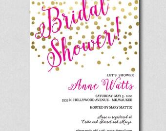 Bridal Shower Invitation, Gold Confetti, Wedding Shower Invitation, Bridal Shower Confetti