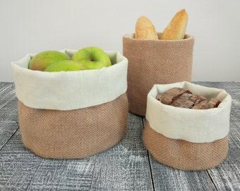Set of 3 burlap baskets, Burlap storage, Round basket, Linen basket, Fabric basket.
