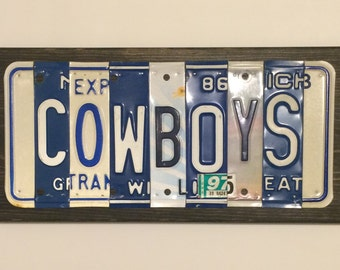 COWBOYS License Plate Sign