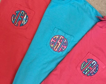 Lilly Pulitzer Applique Monogrammed Comfort Colors T-Shirt