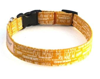 Wedding Dog Collar, Valentine Collar, You Make Me Happy, Handmade Dog Collar, Fabric Dog Collar, Bow Tie Collar, Dog Bow Tie