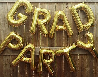 "GRAD PARTY Letter Balloons | 16"" Gold Letter Balloons 