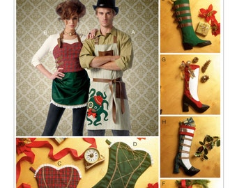 Sewing Pattern for Steampunk Christmas Aprons & Stockings, McCall's Pattern 7062, Christmas Holiday Stockings, Aprons with a Steampunk Vibe