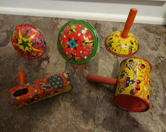Vintage Tin Toy Noisemakers (5 plus 3 old horns)