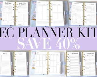 Personal Bundle Planner Printable Inserts Kit - EC Style Vertical Weekly Inserts - Filofax Personal or Kikki K Medium - Cleaning Daily
