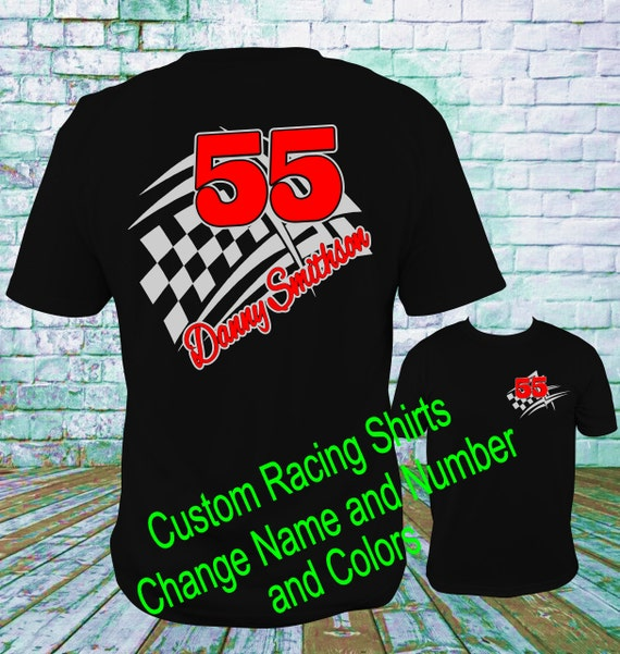 Custom personalized racing shirts design 1 dirt track racing for Racing t shirts custom