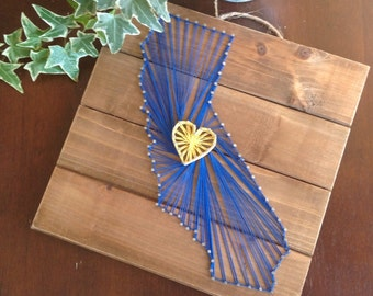 California wall decor, california string art, Golden State Warriors, rustic wall decor, california love, cabin decor, golden state