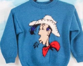 Kids' Sweater blue Pattern Lucky Luke knitted hand K4U-Creations