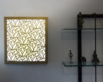 Wood Wall Art, Wall Light, Wall Decor, Wall Lamp, Sconce, Lotus, Laser Cut Lamp, Laser Cut Light, Lights, Laser Cut Wood, Home Decor