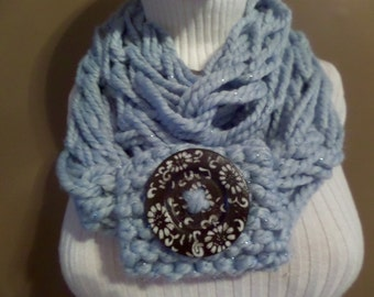 Mystical Blue One-of-a-Kind Hand-Knit Infinity Scarf with Button - M