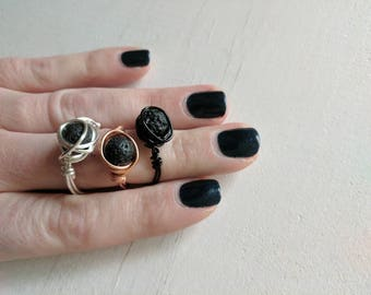 Essential oil lava stone ring nickel free metal customizable made to order wire wrapped ring silver plated, doterra, young living