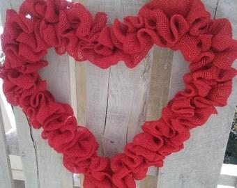 Red Burlap Heart Wreath, Valentine's Day Wreath, Valentine's Day Decor, Ready to decorate Heart Wreath