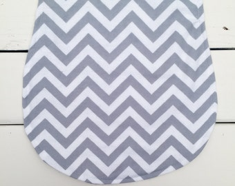Chevron Baby Burp Cloth, Grey and White Chevron Burp Cloth, Grey Burp Cloth, Baby Burp Pad