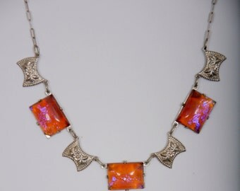 "15"" Antique Filigree link necklace with alternating Carnelian glass stones bezel-set circa 1930's"