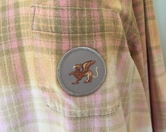Griffin Patch/Badge Upcycled Ombre Bleached Vintage Flannel Shirt