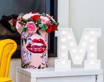 """M light letter, nightlight, wooden light letter """"M"""""""