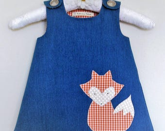 Baby girl jumper dress, blue jeans and Mr Fox