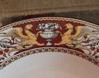 """Set of 2 Rare Minton & Co. 1862 Red Florentine 10.5"""" Bowls - Griffins, Urns, and Cameo Earthenware"""