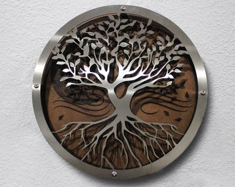 Custom Laser-Etched Home Decor Piece Stainless Steel and Masonite 3D Art Tree of Life, Nature, Moon Metal Art Rustic