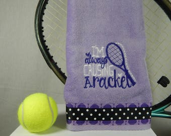 """Lavender Or Pick Your Color) """"Causing a Racket"""" Tennis Towel"""