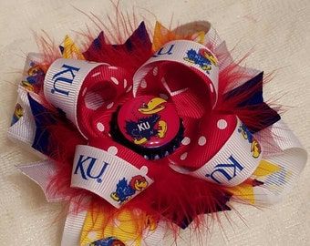 Kansas Jayhawks Stacked Boutique Hairbow