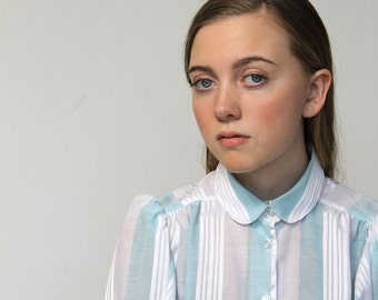 Striped sheer vintage shirt, 1980s, mint and white