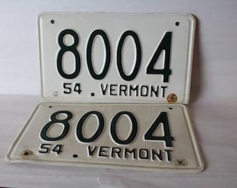 Vermont 1954 Pair License Plates