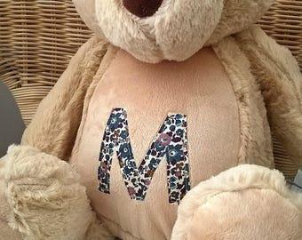 Personalised Teddy Bear / pyjama case with Liberty fabrics