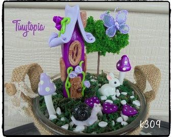 Miniature Purple Fairy House Set~Fairy Garden Kit