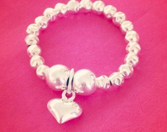 Sterling Silver Mini Puffed Heart Hammered Bead Ring