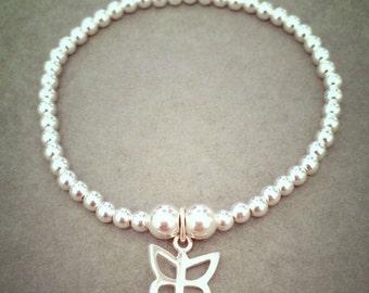 CHILDREN'S Sterling Silver Butterfly Charm Bracelet