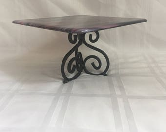 """Festive Small Cake Stand or Cupcake holder - 8.5"""" square"""