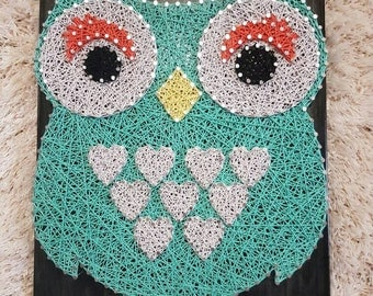 Mint Hearts Owl Hoots String Art Wall Art for Baby Room