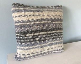 Hand knitted cushion, grey and cream Fair Isle effect