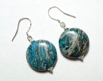 Blue Crazy lace Agate Earrings, Agate Earrings,  925 Silber , minimalist, simple Earrings