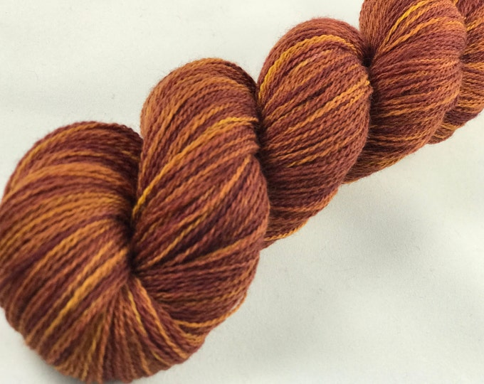 "Hand Dyed Merino Lace Yarn ""Roasted Pumpkin Seeds"""