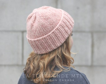 ON SALE 30% OFF - Pink knit hat, wool knit hat, winter hat women, wool beanie | Made in Canada // The Classic Cuffed Beanie | Light Pink