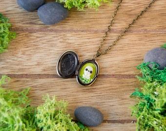 Kodama necklace locket – ghibli forest spirit kawaii pendant cute miniature Mononoke
