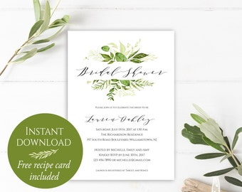 Bridal Shower Invitation Instant Download, Bridal Shower Invitation Printable, Greenery Invitation, PDF Template, Bridal Shower Invites