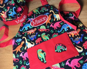 Kids Personalised Dinosaur Apron. Handmade Adult apron. Dinosaur gift, personalised pocket apron, boys apron, girls apron, kids apron, craft