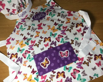 Personalised Butterfly Pocket Apron Adult Apron, Kids Apron Toddler Apron Optional personalisation & chef hat Baking Party or Hen Party Idea