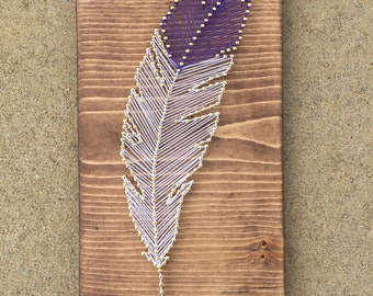 Feather string art, Boho feather decor, Feather gallery wall, bird string art, nature string art, feather decor, feather art