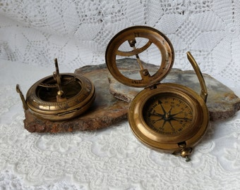 """Sundial Compass, 3"""" Large Brass Working Sundial Compass, Antique Reproduction - STEAMPUNK- Working Solid Brass Compass, Desktop Gift for Men"""