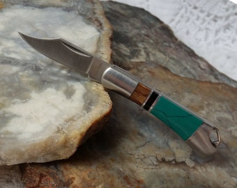 "Miniature Knife - 2"" Closed, MINI Turquoise Knife Jewelry, Tiny Folding Pocket Knife, Jewelry Making Pendant, Classy Gift for Guys & Ladies"