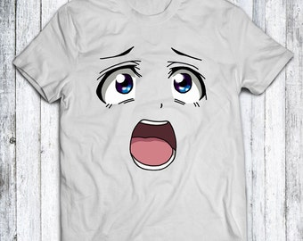 Shocked Anime Face T-shirt - White - Blue - Red - Sizes XS - S - M - L - XL - XXL - 3XL - 4XL
