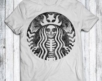Skeleton Starbucks Distressed T Shirt - Black - White - Blue - Red - Sizes - XS - S - M - L - XL - XXL - 3XL - 4XL