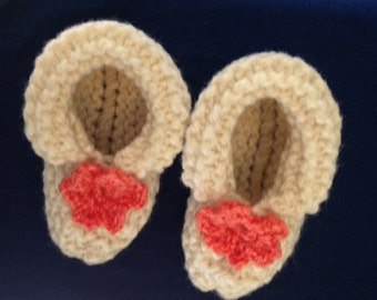 Baby Booties with Orange Flowers